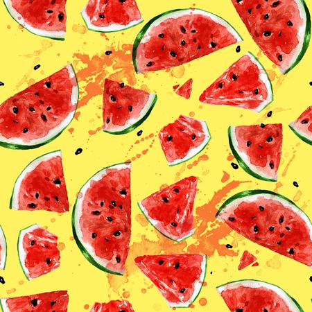 chunk: Juicy Watermelon. Watercolor seamless pattern.