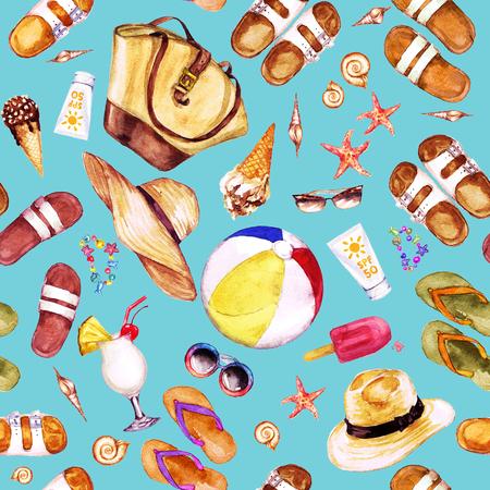 Beach Holiday. Watercolor seamless pattern. Stock Photo