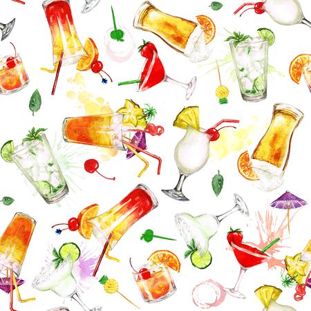 夏 Cocktails.Watercolor シームレス パターン。