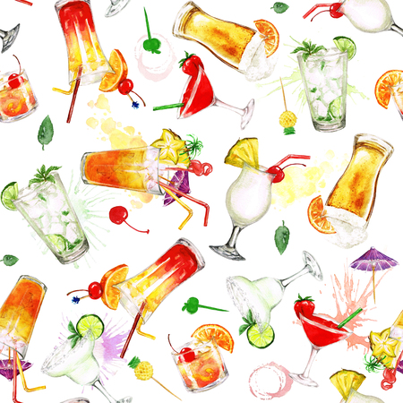 Zomer Cocktails.Watercolor naadloos patroon. Stockfoto