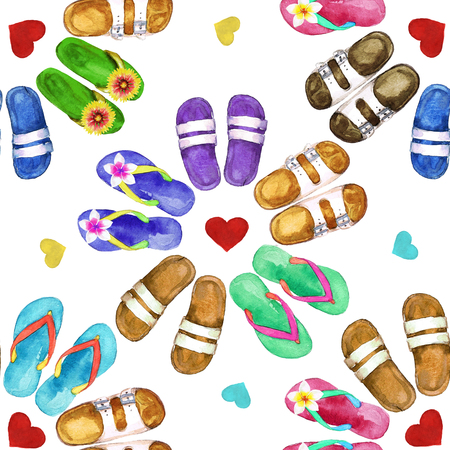 bleached: Flip Flops. Watercolor seamless pattern. Stock Photo