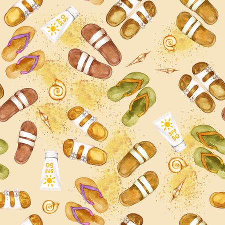 Flip Flops. Watercolor seamless pattern. Stock Photo