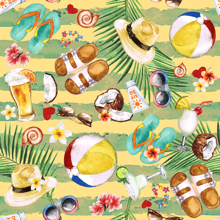 mens clothing: Beach Holiday. Watercolor seamless pattern. Stock Photo