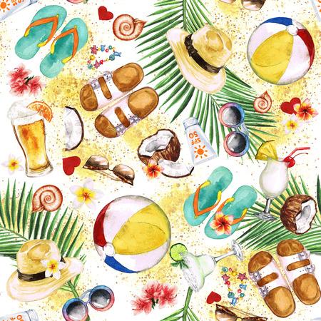 해변에서의 휴가. 수채화 원활한 패턴입니다. 스톡 콘텐츠