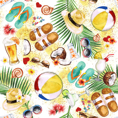 Beach Holiday. Watercolor seamless pattern. Imagens