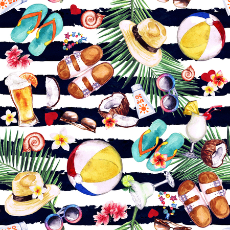 Beach Holiday. Watercolor seamless pattern. Stock Photo
