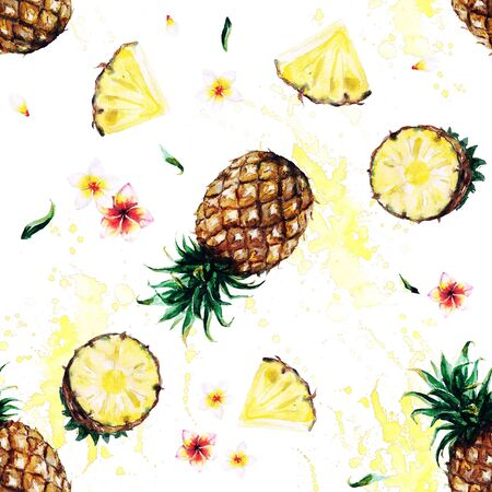 Pineapples. Watercolor seamless pattern. Stock fotó - 78222609