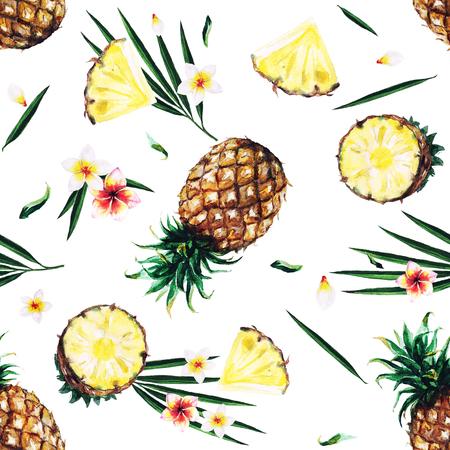 パイナップル。水彩のシームレスなパターン。