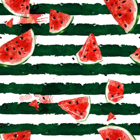 Watermelon. Watercolor seamless pattern.