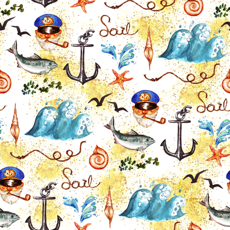 Nautical. Watercolor seamless pattern.
