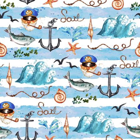 航海。水彩のシームレスなパターン。