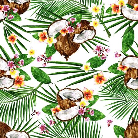 エキゾチックなココナッツ。水彩のシームレスなパターン。 写真素材