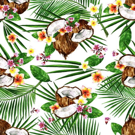 Exotische kokosnoten. Aquarel naadloze patroon. Stockfoto