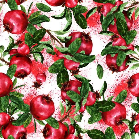 Pomegranate. Watercolor seamless pattern. Stock Photo