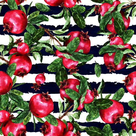 Pomegranate. Watercolor seamless pattern. Stock fotó