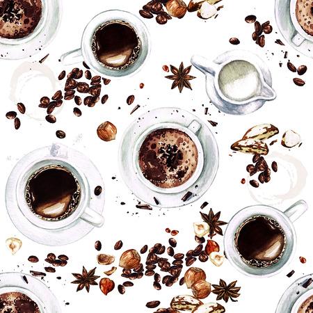 コーヒー カップ。上からの眺め。水彩のシームレスなパターン。 写真素材