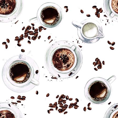 커피 컵. 위에서 볼. 수채화 원활한 패턴입니다.