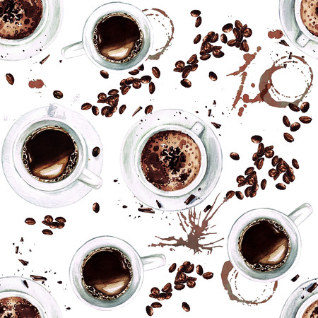 Coffee Cups. View from above. Watercolor seamless pattern.