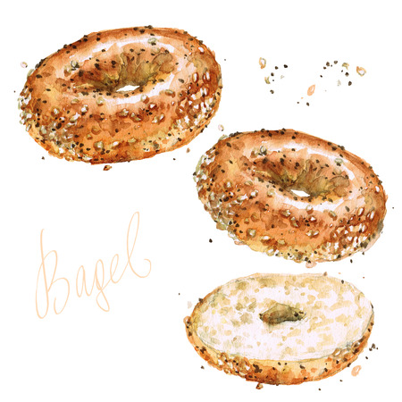 Bagel. Illustration d'aquarelle. Banque d'images - 82597349