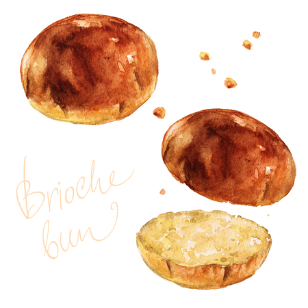 Brioche bun. Watercolor Illustration.