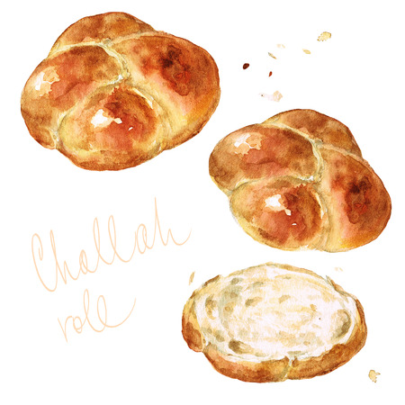 Challah roll. Watercolor Illustration.