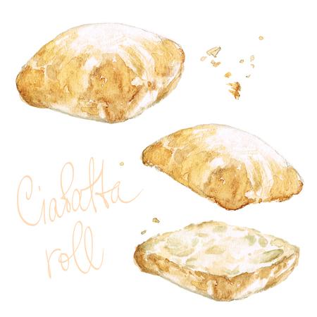 continental food: Ciabatta roll. Watercolor Illustration.