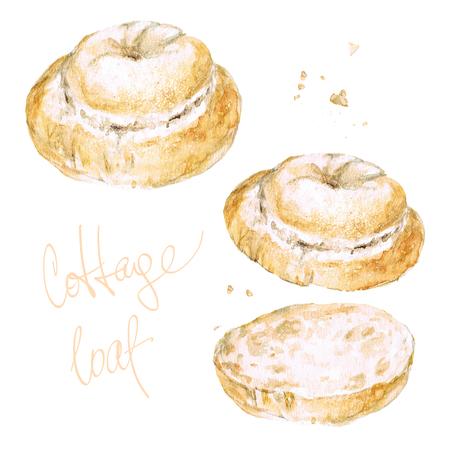 コテージのパン。水彩イラスト。 写真素材