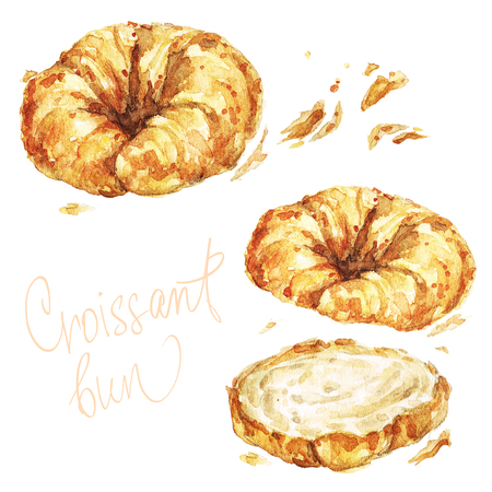 Croissant bun. Watercolor Illustration.