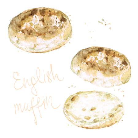 English muffin. Watercolor Illustration.