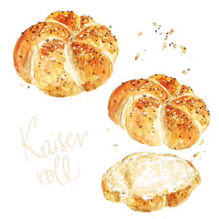 Kaiser roll. Watercolor Illustration. Stock Photo