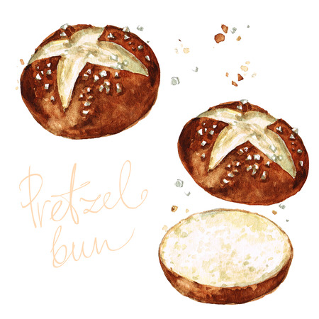 Krakeling broodje. Aquarel illustratie.