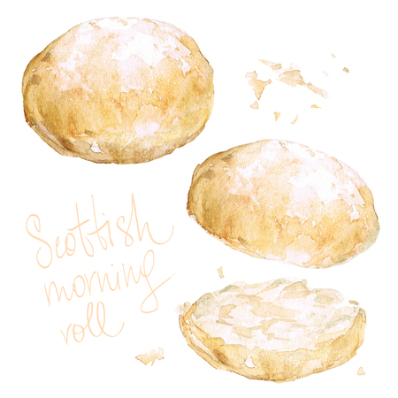 Scottish morning roll. Watercolor Illustration.