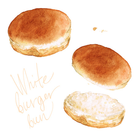 白いハンバーガーのバンズ。水彩イラスト。