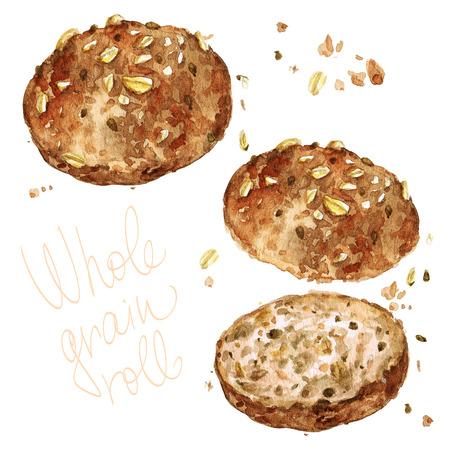 Rouleau à grains entiers. Illustration d'aquarelle. Banque d'images - 82595887