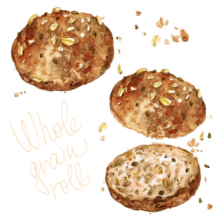 Whole grain roll. Watercolor Illustration. Banco de Imagens