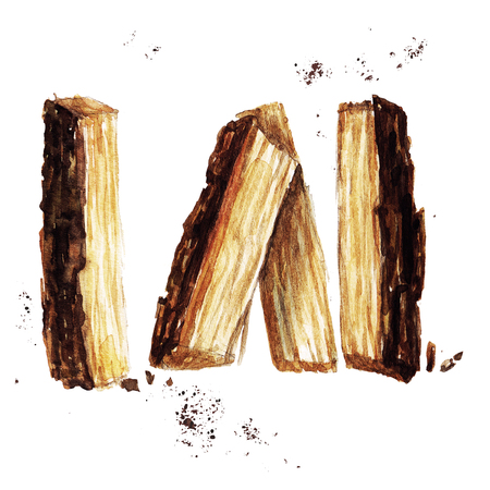Wood for fireplace. Watercolor Illustration.
