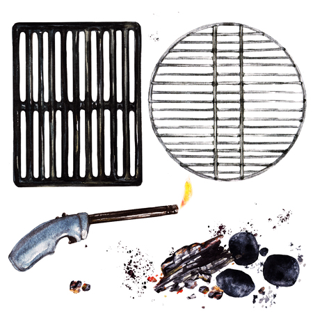 Grill grates, lighter, coal, wood. Watercolor Illustration. Stock Photo