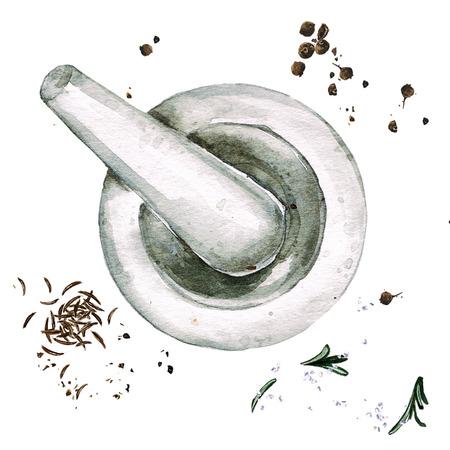 モルタル。水彩イラスト。 写真素材