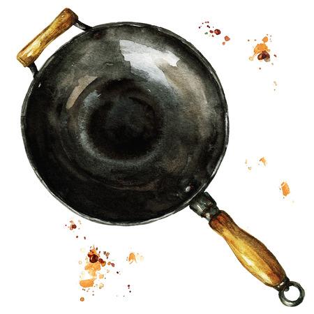 Pan. Watercolor Illustration. Stock Photo