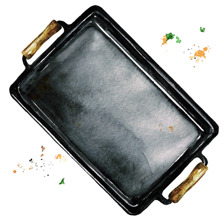 Baking sheet. Watercolor Illustration. Stock Photo