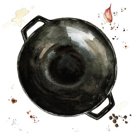 cast iron: Pan. Watercolor Illustration. Stock Photo