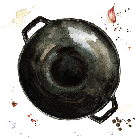 Pan. Watercolor Illustration. Stock Photo