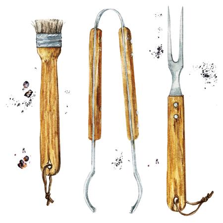 バーベキュー ツールや道具。水彩イラスト。