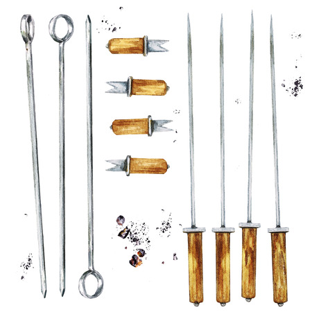 BBQ tools and utensils. Watercolor Illustration.