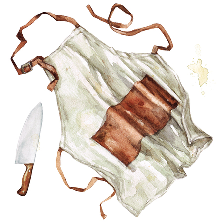 Apron and knife. Watercolor Illustration. Zdjęcie Seryjne