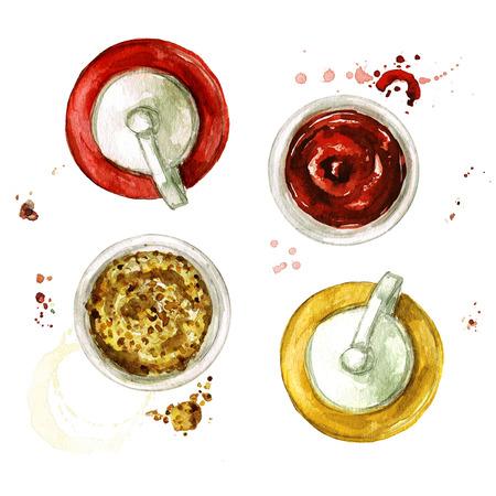 Ketchup en Mosterd. Waterverf Illustratie. Stockfoto