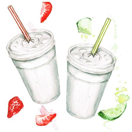 Plastic cups with juice. Watercolor Illustration. Foto de archivo