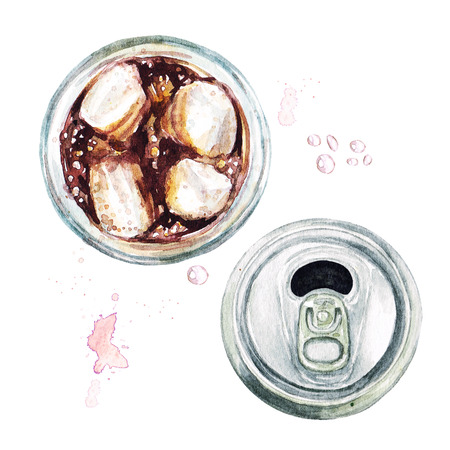 Glass of soda and an empty can. Watercolor Illustration.