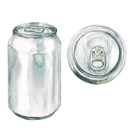 음료 수 있습니다. 수채화 그림입니다.