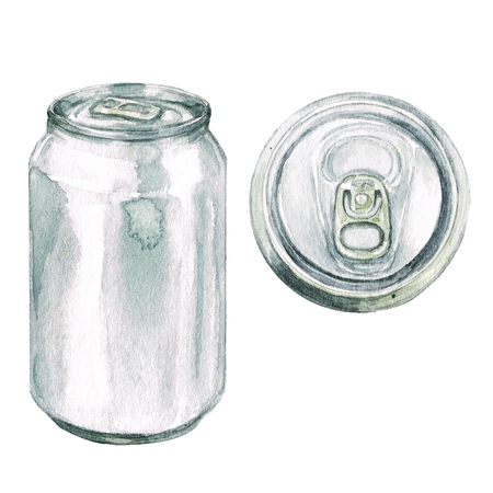 Beverage can. Watercolor Illustration.